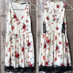 Zara Rose Print w/ Lace V-Neck Dress